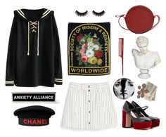 """I wanna be a schwa (they're never stressed)"" by ineedsomecyanide ❤ liked on Polyvore featuring Monki, WithChic, Chanel, Miu Miu, Fornasetti, Diane Von Furstenberg, Mason Pearson, idk, black and Sailor"
