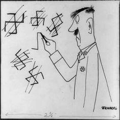 Saul Steinberg, 1942, Hitler Drawing Faulty Swasticas, (American Mercury - Sept…