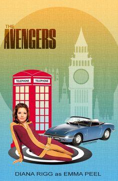 *m. The Avengers Poster Emma Peel Collage by jackiejr #theavengers #emmapeel #johnsteed