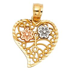 14k Tri Color Gold Flower in Heart Charm Pendant. Size : 15 mm x 18 mm. Will be Shipped Today or Tomorrow. Promptly Packaged with Free Gift Box.