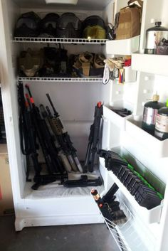 Storage of Airsoft Guns Airsoft Storage, Airsoft Guns, Shoe Rack, Paint, Home, Picture Wall, Shoe Racks, Ad Home, Paintings