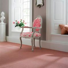 grey walls in Lily's room w/ pink carpet