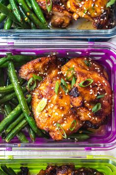 This Asian chicken thighs and spicy green beans recipe is ideal for a lunch meal prep recipe, or a healthy, paleo weeknight dinner. The sticky Asian marinade. Whole 30 Chicken Recipes, Recipe Using Chicken, Asian Chicken Recipes, Chicken Thigh Recipes, Grilled Chicken Recipes, Whole 30 Recipes, Asian Recipes, Chicken Thighs And Green Beans Recipe, Asian Chicken Thighs