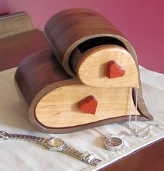 Handcrafted Bandsaw Box for Jewelry, Trinket or Keepsakes made from Walnut, Cherry and Bloodwood by EsteysWoodworks on Etsy