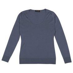 Sandpiper in Denim, Slim Fit Scoop Neck Sweater