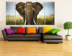 Large Africa Elephant Photo Canvas Print  Wildlife от GiftVilage