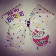 Cheer Bow- Personalized Cupcake Birthday Bow by BOWcasions on Etsy https://www.etsy.com/listing/232041963/cheer-bow-personalized-cupcake-birthday