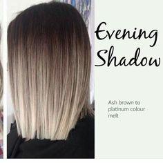 Evening shadow. Ash brown w/ platinum melt.