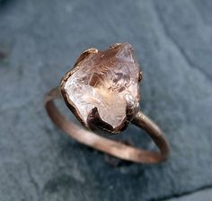 Raw Rough Morganite 14k Rose gold Ring Gold Pink by byAngeline