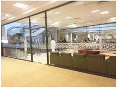 Sandblasted glass partition in American University of Shajah Library