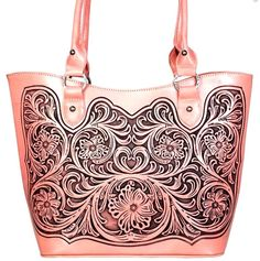 f0f845c501 Montana West~Trinity Ranch Tooled Leather Front Handbag Tote~Conceal  Gun~Pink  MontanaWest  ToteHandbag
