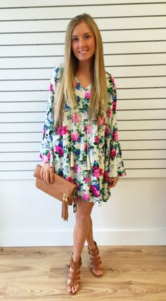 Fin Floral Print Dress-Ivory/Pink/Green - The Style Bar Boutique  - 1