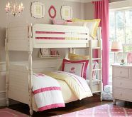 Cute set up for a shared bedroom with Bunk Beds Pottery Barn Kids, Adult Bunk Beds, Kids Bunk Beds, Bunk Beds With Stairs, Cool Bunk Beds, Double Bunk Beds, Bunk Bed Plans, Ideas Hogar, Loft Spaces
