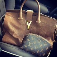 Cabas Chyc Tote by Yves Saint Laurent and Louis Vuitton Pochette (make-up bag)
