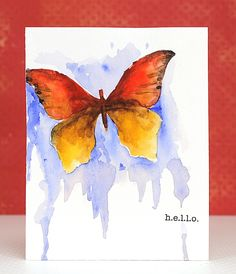 handmade greeting card ... paper butterfly stencil from die cut ... watercolor through stencil ... dry ... ink background ... beautiful ...