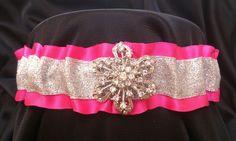 Bling IT ON Rhinestones Silver Glitter Fuchsia Garter Wedding Prom Bridal | eBay