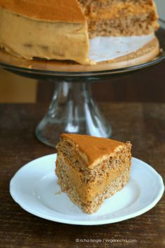 Pumpkin Mousse Cake with Vanilla Spelt Sponge. Vegan Recipe | Vegan Richa #vegan #cake