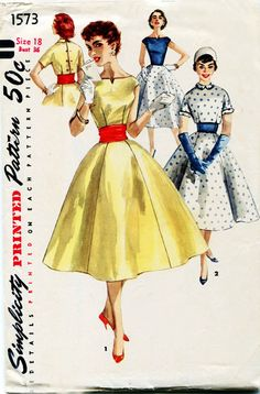 Vintage 1950s Dress Pattern Simplicity 1573. Have cut size 33 bust. Is cut and a tattered. In my collection