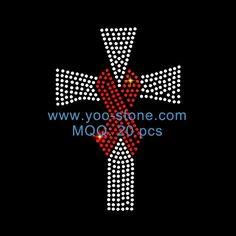 Ribbon Cross Rhinestone Transfer For Clothing