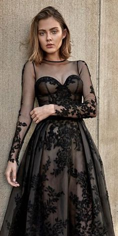 37c88beef4 gothic wedding dresses a line with illusion long sleeves floral appliques  oglialoro couture