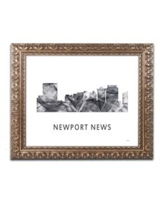 Trademark Fine Art 'Newport News VA Skyline Wb-bw' Canvas Art by Marlene Watson, Gold Ornate Frame, Size: 11 x Gray Newport News Va, Baby Clothes Shops, Online Art Gallery, Clear Acrylic, Mother Day Gifts, House Warming, Framed Art, Canvas Art, Kids Shop