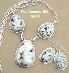 Four Corners USA Online - Sacred White Buffalo Turquoise Necklace Earring Set by Navajo Artisan Kathy Yazzie NAN-1406, $635.00 (http://stores.fourcornersusaonline.com/sacred-white-buffalo-turquoise-necklace-earring-set-by-navajo-artisan-kathy-yazzie-nan-1406/)