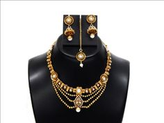 Indian Traditional Designer Gold Plated Pearl Bridal Jewelry Necklace Set in Jewelry Sets | eBay