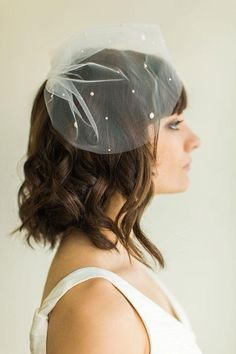 The sweetest blusher veil with a smattering of scattered pearls. #etsyweddings
