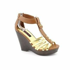 Material Girl Tyler Womens Leather Wedges