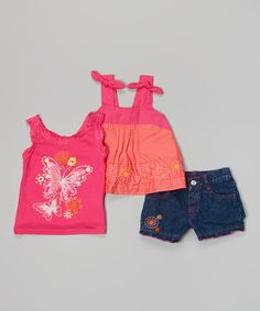 Pink Floral Butterfly Tank Set - Infant | zulily