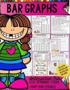 Activities target students of different ability levels and involve the use of concrete materials such as pictures, dice, spinners, coins and smarties /M&M's to collect, tabulate, graph and interpret data in column/bar graphs. File with Aus/Uk spellings included. https://www.teacherspayteachers.com/Product/BAR-GRAPHS-899799
