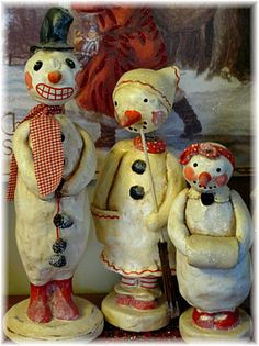 Penny McAllister Snowman Family via Nancy Malay blog Victorian Whimsies: November 2011