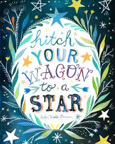 Hitch Your Wagon to A Star art print by thewheatfield on Etsy