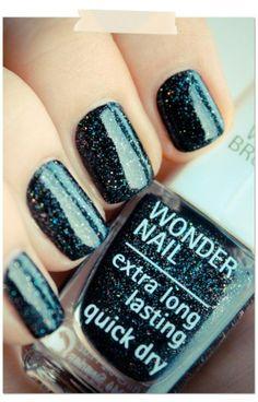 glittery black nail polish