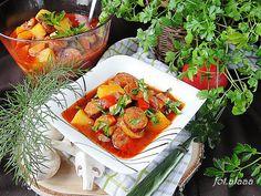 Ala piecze i gotuje: Gulasz z kiełbasy z warzywami Bruschetta, Ethnic Recipes, Food, Meal, Essen, Hoods, Meals, Eten
