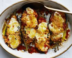 Removing all but a strip of the eggplant's skin lets the flesh meld with the sauce without falling apart. This is part of BA's Best, a collection of our essential recipes.
