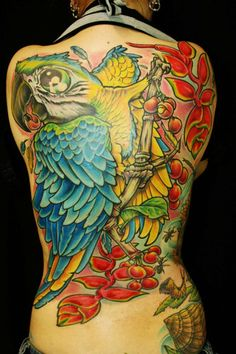 Happily colored parrot back tattoo