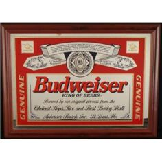 Budweiser Beer Mirrors Meb Logo Mirror Bar Sign Clic Label Nos