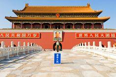 Tiananmen Square, Beijing, China                            Tiananmen with chairmen Mao portrait.