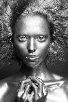 Metallic makeup Fantasy #makeup #avantgarde