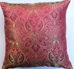 Red and Gold Throw Pillow Cover Satin Brocade by sassypillows, $19.99
