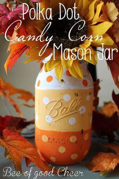How to make this polka dot candy corn mason jar. Bee of Good Cheer: Polka Dot Candy Corn Mason Jar Halloween Crafts, Holiday Crafts, Holiday Fun, Holiday Decor, Holiday Ideas, Christmas Decor, Mason Jar Gifts, Mason Jar Diy, Jar Crafts