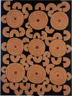 Emeu et histoire de l'herbe munyeroo -  Pwerle Ross Dave (vers 1928), nom tribal Pwerle - Australie - Réunion des Musées Nationaux-Grand Palais -