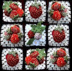 This would make a cute pillow: Strawberry Blocks pattern by Barbara Lawler