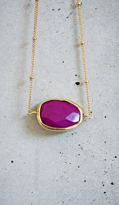 Purple Turquoise Bezel Gold Necklace by shopkei on Etsy, $40.00