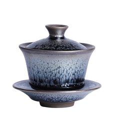 "Jianzhan ""Oil Drop"" Gaiwan 140 cc, KTM008 Chinese Tea Set, Bamboo Box, Lovely Shop, Small Gifts, Brewing, Tea Cups, Porcelain, Certificate, Author"