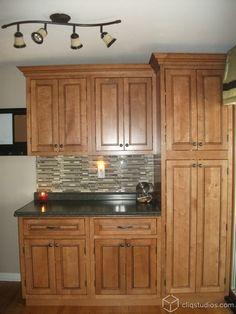 Fairmont inset kitchen cabinets in Maple Caramel Jute Glaze from CliqStudios.com
