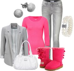 """""""Uggs"""" by brianaa-x ❤ liked on Polyvore ~ OK, I need this outfit, pink Uggs OMG!"""
