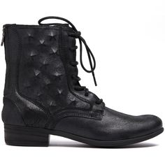 KADI- Featuring a mid calf height, heel, funtional laces and back zip. Internal studded detail on side of boot and distressed leather. Distressed Leather, Black Ankle Boots, Cropped Pants, Looks Great, Combat Boots, Zip, Detail, Lady, Heels