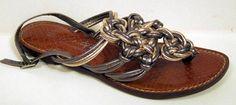 Sam Edelman Boutique 'Genero' Gold Pewter Knotted Strappy Sandal Size 6M #SamEdelman #FlipFlops